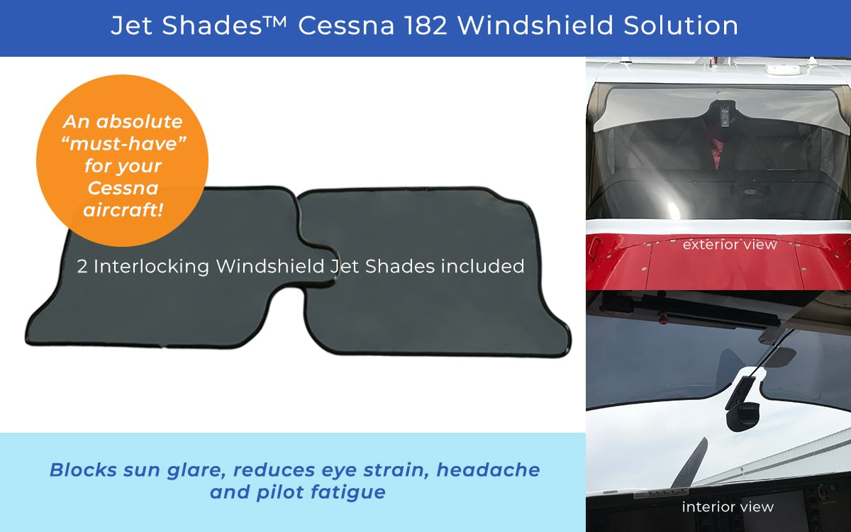 Jet Shades for Cessna 182 Windshields - Block heat/glare from the sun