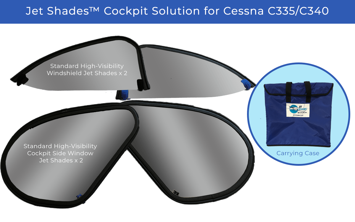 Jet Shades Cockpit Solution for Cessna C335/C340 - Blocks UV/Heat/Glare while flying!