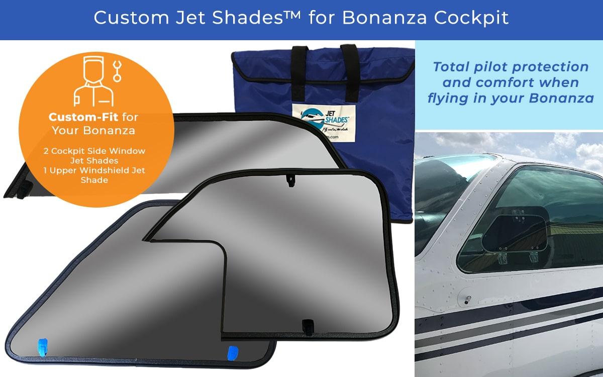 Custom Jet Shades for Bonanza - Cockpit Solution - Blocks harmful UV, heat and glare from pilots!
